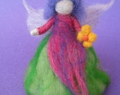 Needle Felted Spring Fairy, Flower fairy, spring Nature table, Waldorf doll, spring decor, with soft skirt and wild, vibrant colors