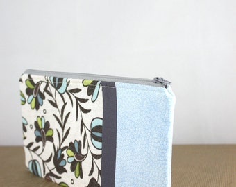 SALE!! Zipper Pouch, Cosmetic Case, Fabric Wallet, Pencil Case in Gray and Light Blue by Nstarstudio