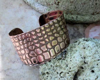 copper embossed alligator cuff