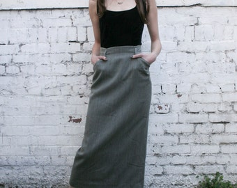 Vintage Ralph Lauren 1990's Tweed Leather Trim Midi High Waisted Maxi Skirt XS/S