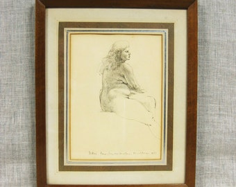 Vintage Jim McMullan Female Nude Pencil Drawing, Portraits of Women, Original Fine Art, Hand Drawn, Illustration, Signed, Dated, Portraiture