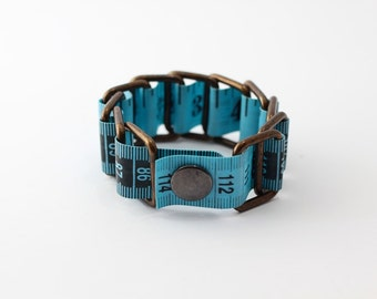 Tape measure bracelet  -  Marine Blue (upcycled vinyl/measuring tape)