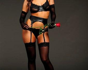 Black Lingerie - Thigh High Panty Hose- Medium