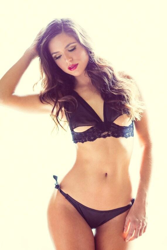 Black Lingerie Panties - Satin Side tie Bikini  - Small - Honeymoon _ RTS
