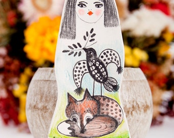 Fox Brooch, Handmade Bird Pin, Bird Brooches, Miniature Animals,  Drawing on Clay, Foxes, Fox Lover Gift, Little Girl, Woodland Art, Fuchs