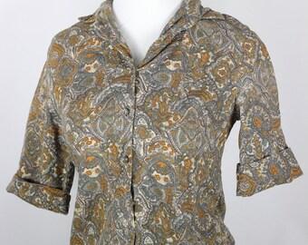 Olive 50s Cotton Patterned Blouse -- Size xs/sm