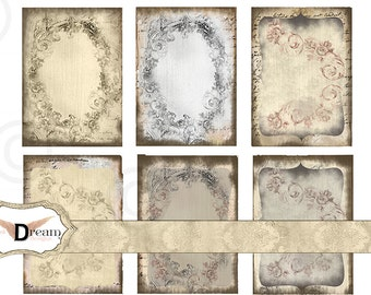 Old Tattered Vintage  Backgrounds - Aceo - ATC - Digital collage sheet