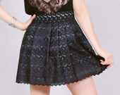 Flirty bohemian skirt with black vintage style lace and high waist for women