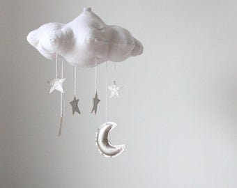 Silver Moon and Star Cloud Mobile- modern fabric sculpture for nursery decor in white linen and metallic faux leather- Free US Shipping