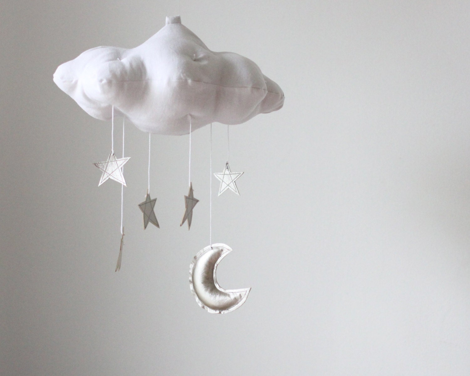silver moon and star cloud mobile modern fabric by babyjivesco. Black Bedroom Furniture Sets. Home Design Ideas