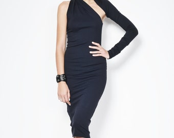Black One Shoulder Dress / Pencil Dress / Marcellamoda Signature Design / Midi Length Dress / marcellamoda - MD003