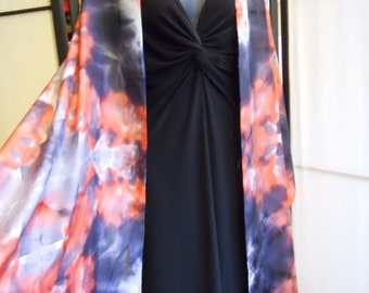 Red, gray, and charcoal silk scarf 22x90