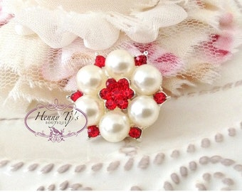 6pc - 26mm Silver Metal Plating RED / Light Siam Crystal Rhinestone Pearl Buttons. Flower Center. wedding / hair, garment accessories