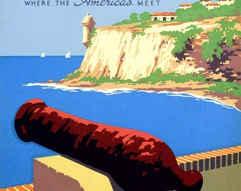 "Giclée Reproduction Vintage WPA Travel Poster entitled ""Discover Puerto Rico"" circa 1935-40 - 11 x 14"