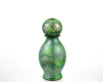 Silver and Green Perfume Bottle, Hand Blown Glass