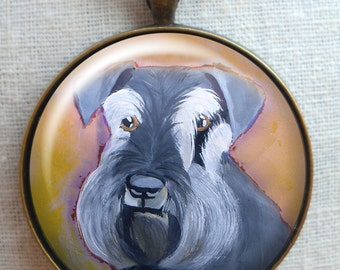 Schnauzer Keychain ~ Gifts Under 15 ~ Pet Keepsake ~ April Birthday ~ Gifts for Her ~ Schnauzer Portrait ~ Pet Keychain