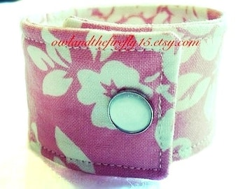 Fabric Cuff Bracelet Boho Chic Jewelry Replacement Band for Ribbon Watch - Pink Damask