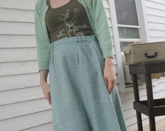Blue Wool Skirt Tweed Vintage 60s Cyan 1960s Summit of Boston M S