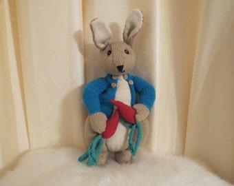 Handmade in Australia Knitted Peter Rabbit Doll Plush Soft Toy