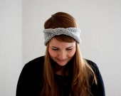 Knit headband in gray with twist and sparkle spring accessories