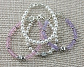 Babys First Bracelet Set, Initial bracelet, You choose your color stacking set, 2 pc set, Swarovski Crystals and Sterling Silver