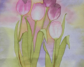 Hand Painted Fabric PInk Tulips Panel Quilt Block on Cotton