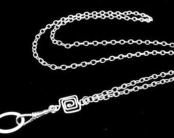 Women's Fashion ID Badge Holder Lanyard Necklace with Handcrafted Greek Key, Silver Lanyard, Breakaway Lanyard, Work Badge Necklace