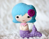 "SALE - 25% OFF – RTS Mermaid Felt Doll - 4-1/2"" Handmade Miniature Doll - Ready To Ship - Gingermelon Doll"