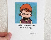 Redhead Librarian Nerd, 60s Retro Inspired, Funny Print
