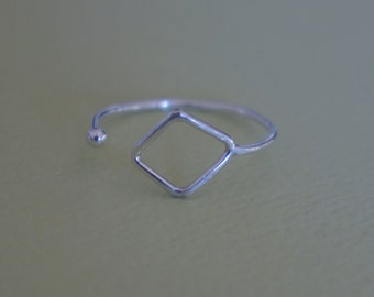 open adjustable ring - diamond shaped skinny ring - silver band - size 7/8