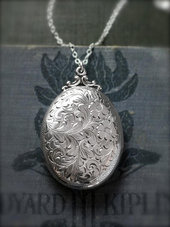 Sterling Silver Locket Necklace Large Oval Floral Engraved