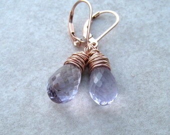 Pink Amethyst Earrings,  Rose de France Stone,  Wire Wrapped in Rose Gold,  February Birthstone Jewelry, Lavender Earrings