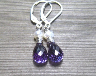 Alexandrite and Pearl Earrings, June Birthstone Jewelry, White Freshwater Pearl, Sterling Silver, Color Change Stone, Blue Purple