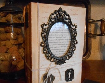 Book Bundle with Oval Picture Frame built in, Book Collection, Vintage Key, Twine, FREE SHIPPING !