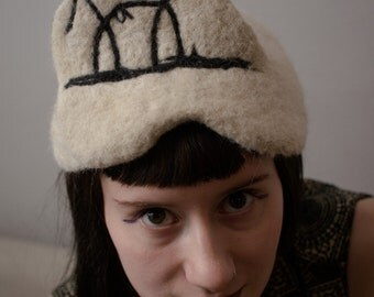 PICASSO HAT - Bull sketch - needle felted alpaca wool- black and white