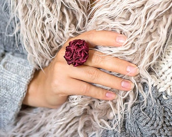 Dark red fabric ring, textile ring, ruffled ring, fabric jewelry, textile jewelry, fiber ring, Unique Gift for Her