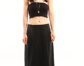 WREN 40s Handmade Black Minimalist Witchy Retro Simple Chic Boho Gypsy Maxi Skirt Medium