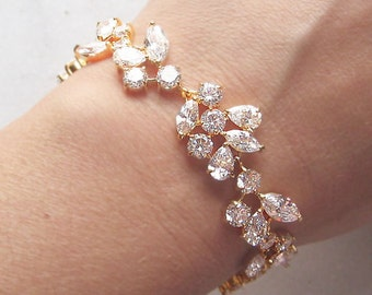 Gold Bracelet, Swarovski Crystal Bridal Bracelet, Wedding Bracelet - ADARA