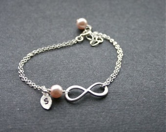 Personalized silver infinity bracelet, Infinity charm,Monogram initial,Mothers bracelet,birthstone bracelet,Infinity jewelry,Sterling Silver