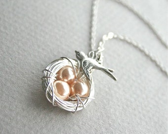 Silver Bird Nest Necklace,Nest jewelry,  Peach Eggs, Mother Bird Nest, Bird necklace, Nest Necklace, Three eggs, Sterling Silver