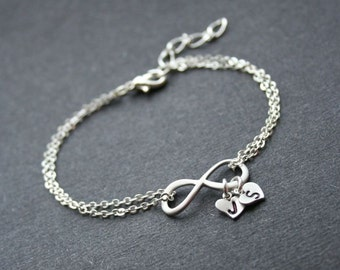 Personalized Infinity Silver Infinity Heart Bracelet Friendship Bracelet  Infinity Bracelet  with Initials Wedding Jewelry Sterling Silver