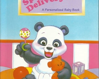 Your Childs  Personalized Gift  New Born  Baby Book Special Delivery  Ships PRIORITY MAIL in 24 hours Also available in Spanish and  Italian