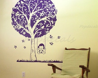 "Girls Room Vinyl Wall Decals Tree Wall Stickers Playroom Tree Decals - Girl plays swing( 65"")-  Children Removable Vinyl Wall Decals"