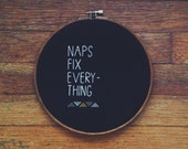 Custom message / needlepoint brown black naps fix everything hoop home decor / tribal geometric shapes modern type / personalized