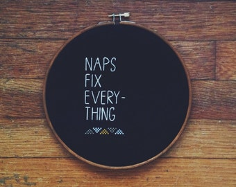 Needlepoint Black Naps Fix Everything Cross Stitch Embroidery Hoop