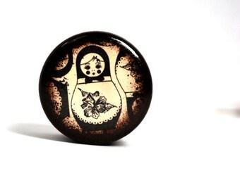 Babushka Doll Pill Box - Brown