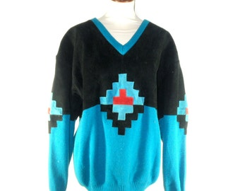Pioneer Wear Southwestern Style V Neck Sweater with Traditional Native American