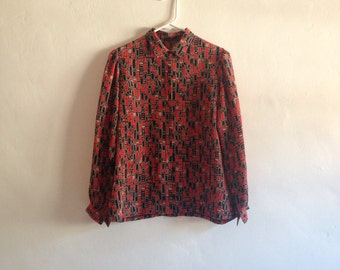 Vintage Top - 1970s Red and Black Brick Print Abstract Blouse