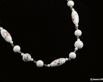 Millefiori Glass Bead Choker Necklace 1930s White Floral Multi Color