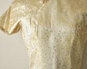 Vintage 50s Gold Silk Cheongsam Wiggle Dress size Small 28 Inch Waist